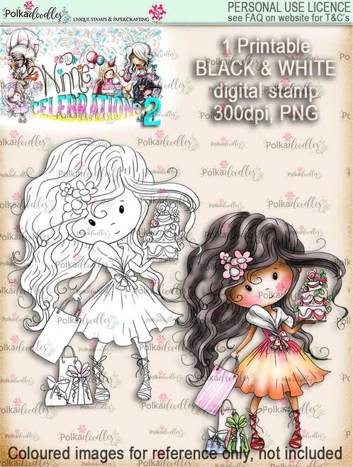 Winnie Celebrations 2...Cake time!  black & white digi stamp printable download