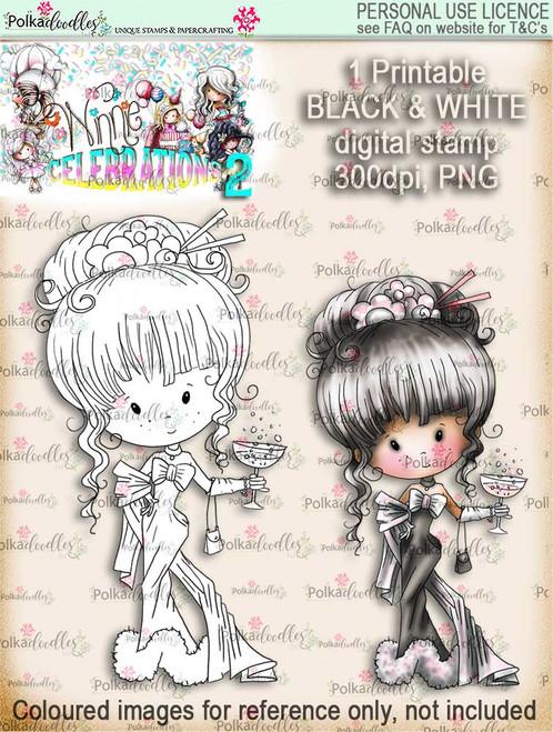 Winnie Celebrations 2...Champagne Celebration  black & white digi stamp printable download