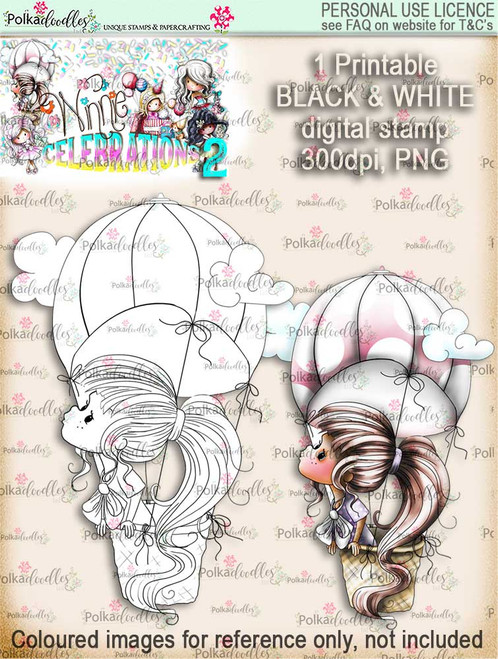 Winnie Celebrations 2...Sky's the Limit black & white digi stamp printable download
