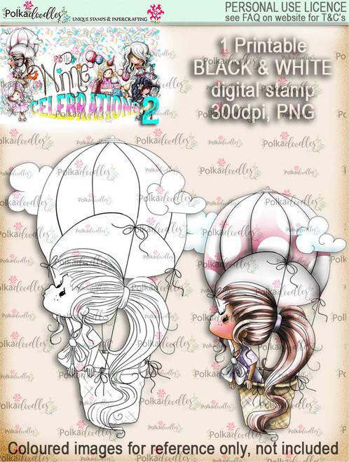 Winnie Celebrations 2...Sky's the Limit black & white digi stamp printable download