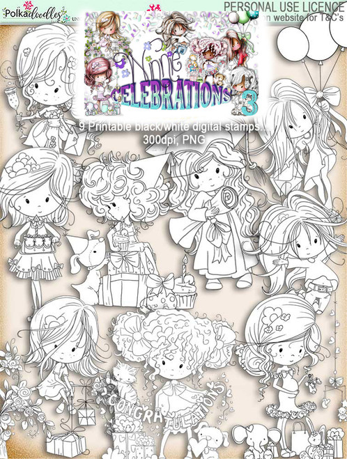 Winnie Celebrations 3... 9 digi stamps - digi scrap kit download digital printables. High quality 300dpi.