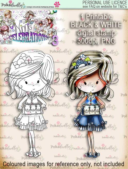 Winnie Celebrations 2...Baked You A Cake black & white digi stamp printable download