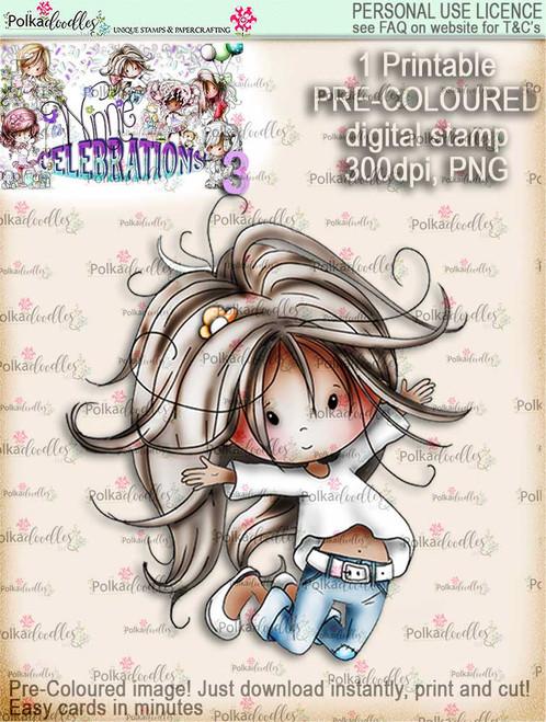 Winnie Celebrations 3...Jump for Joy COLOURED digi stamp printable download