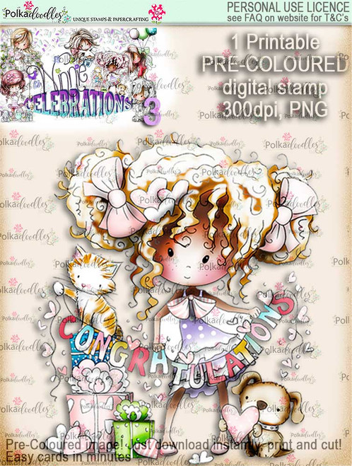 Winnie Celebrations 3...Engaged/Congratulations/Engagement COLOURED digi stamp printable download