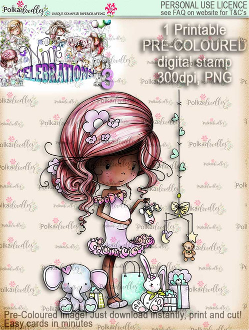 Winnie Celebrations 3...Pregnant/Baby Shower/Expecting/New Baby COLOURED digi stamp printable download