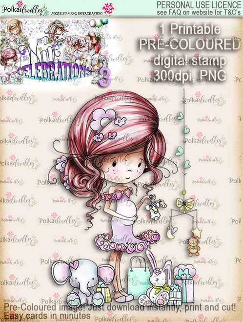 Winnie Celebrations 3...Pregnant/Baby Shower/Expecting/New Baby/gender reveal COLOURED digi stamp printable download
