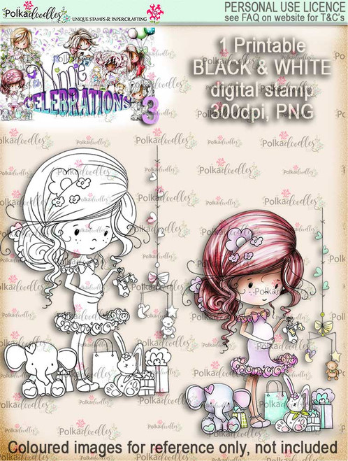 Winnie Celebrations 3...Expecting A New Baby/pregnant/gender reveal/baby shower black & white digi stamp printable download