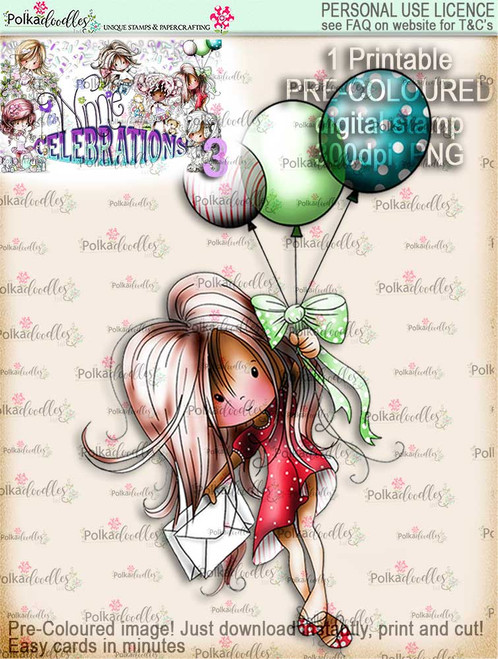 Winnie Celebrations 3...You're taking off/Flying High reveal COLOURED digi stamp printable download