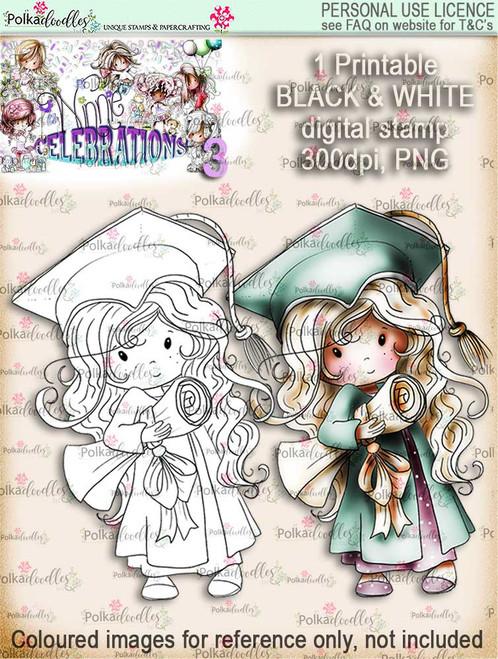 Winnie Celebrations 3...Graduation/You Passed/Well done black & white digi stamp printable download