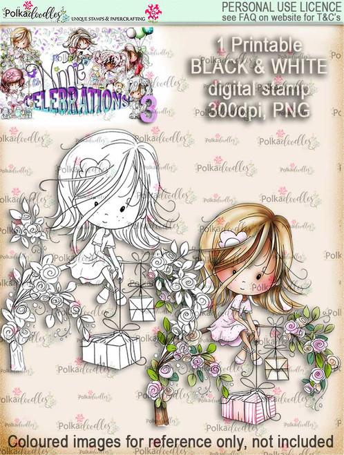 Winnie Celebrations 3...Surprise, Gifts, presents, tree, branch, black & white digi stamp printable download