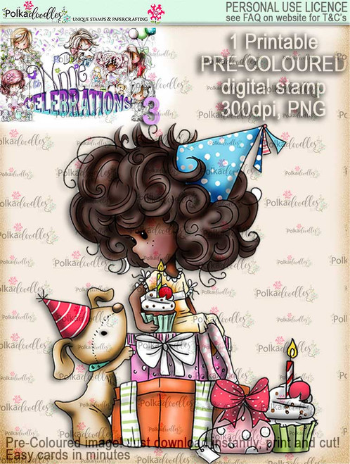 Winnie Celebrations 3...Pile of Surprises COLOURED digi stamp printable download