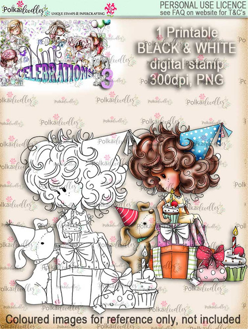 Winnie Celebrations 3...Surprise, Gifts, presents, black & white digi stamp printable download