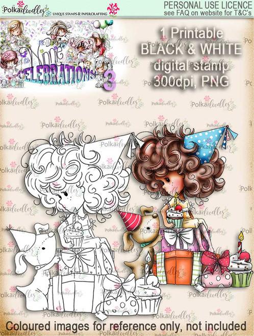 Winnie Celebrations 3...Surprise, Gifts, presents, black & white digi stamp printable download