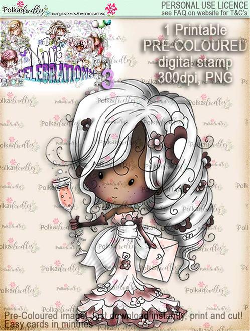 Winnie Celebrations 3...Champagne Celebration COLOURED digi stamp printable download