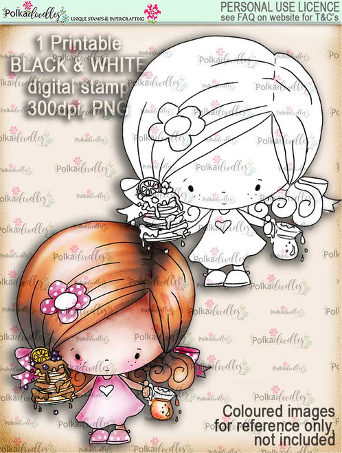 Pancake Heaven - Lil Miss Sugarpops cute digi stamp printable download