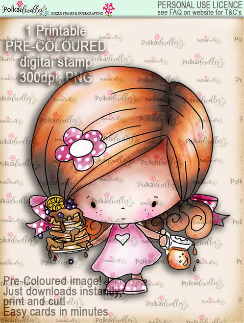 Pancake Heaven - Lil Miss Sugarpops cute digi stamp printable download