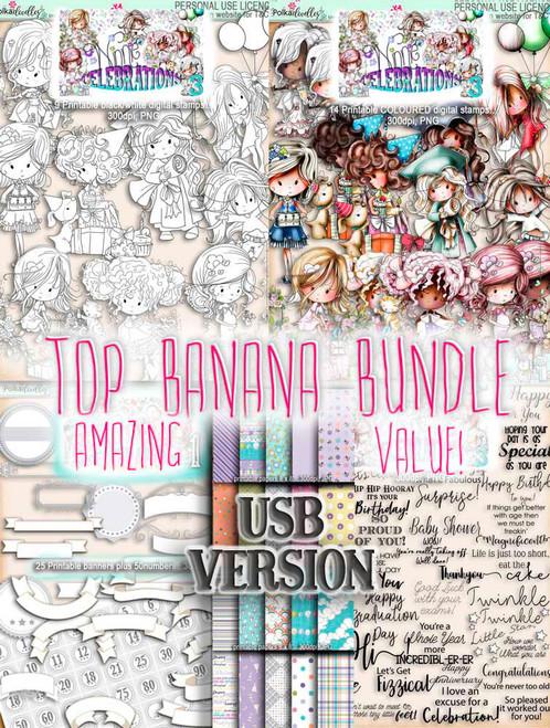 Winnie Celebrations 3 - USB Printable Top Banana kit