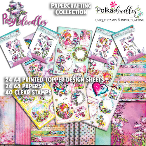A4 Design sheets & Papers - Posy Doodles