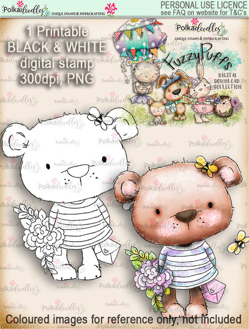 Bella Bear Bouquet - Fuzzypuffs digi stamp printable download