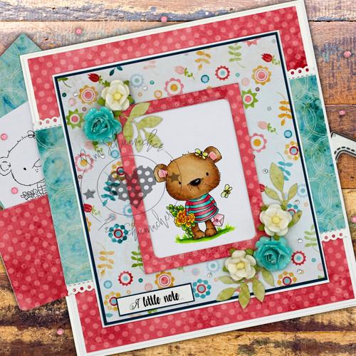 Bella Bear Bouquet - Fuzzypuffs COLOUR digi stamp printable download