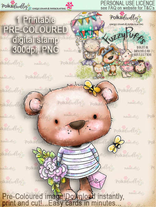 Bella Bear Bouquet - Fuzzypuffs COLOUR digi stamp printable download