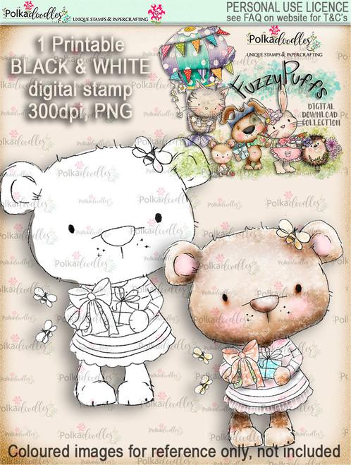 Bella Bear Gift - Fuzzypuffs digi stamp printable download