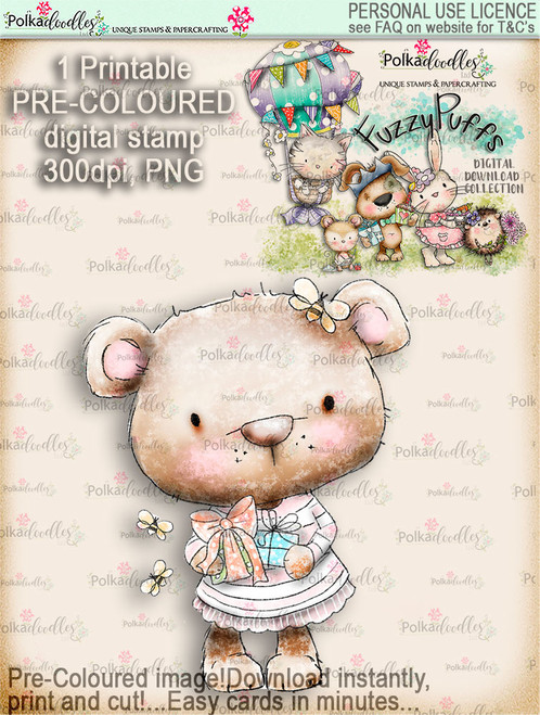 Bella Bear Gift - Fuzzypuffs COLOUR digi stamp printable download