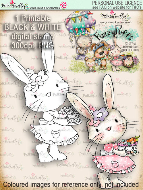 Bunnita Carrot Cake - Fuzzypuffs digi stamp printable download