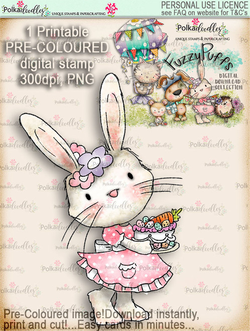 Bunnita Carrot Cake - Fuzzypuffs COLOUR digi stamp printable download