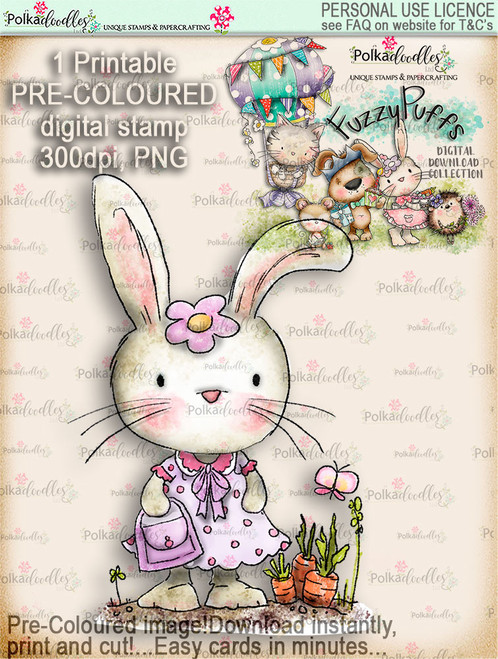 Bunnita Shopping - Fuzzypuffs COLOUR digi stamp printable download