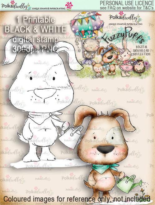 Scruff Gardening - Fuzzypuffs digi stamp printable download