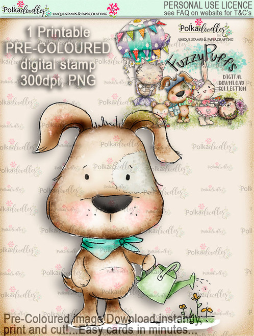 Scruff Gardening - Fuzzypuffs COLOUR digi stamp printable download