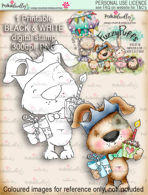 Scruff Cupcake - Fuzzypuffs digi stamp printable download