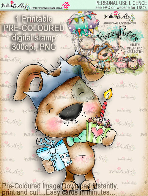 Scruff Cupcake - Fuzzypuffs COLOUR digi stamp printable download