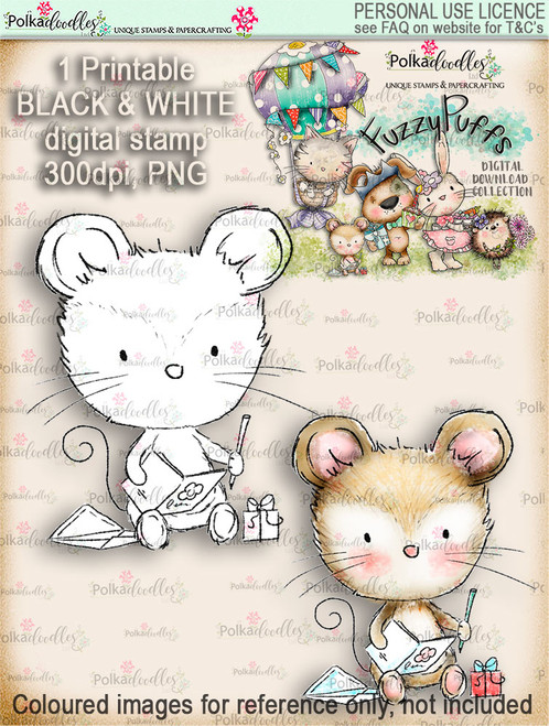 Maisie Mouse Sending Wishes - Fuzzypuffs digi stamp printable download