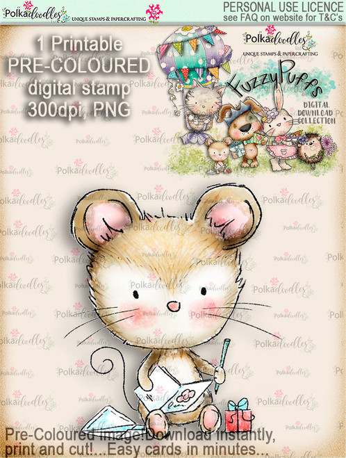 Maisie Mouse Sending Wishes - Fuzzypuffs COLOUR digi stamp printable download