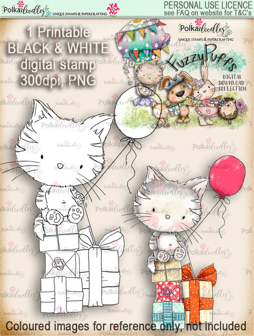 Jasper Kitty Balloon - Fuzzypuffs digi stamp printable download