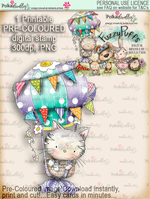 Jasper Hot Air Balloon - Fuzzypuffs COLOUR digi stamp printable download