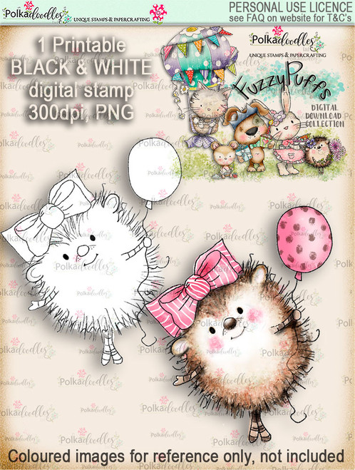 Earlie Hedgehog Balloon - Fuzzypuffs digi stamp printable download