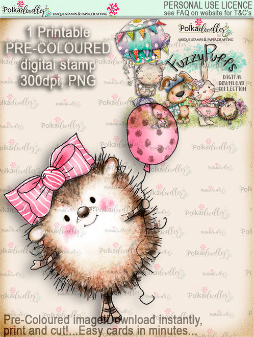 Earlie Hedgehog Balloon - Fuzzypuffs COLOUR digi stamp printable download