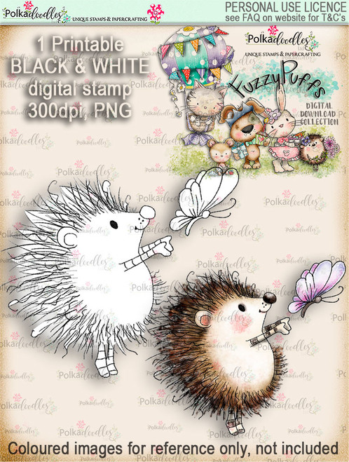 Earlie Hedgehog Butterfly - Fuzzypuffs digi stamp printable download