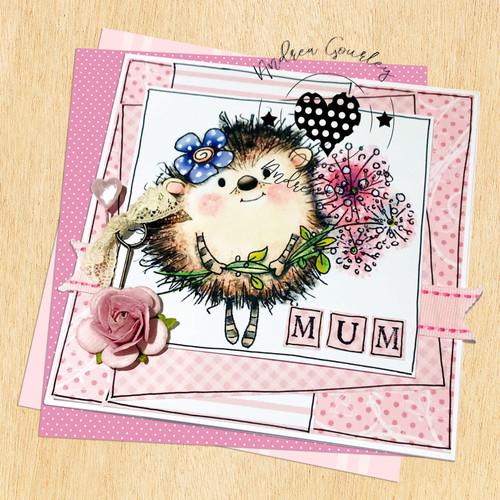 Earlie Hedgehog Dandelion - Fuzzypuffs COLOUR digi stamp printable download