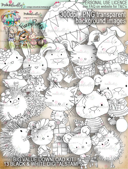 Fuzzypuffs BLACK & WHITE digi stamp BIG VALUE download kit