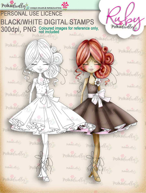 Ruby Sweet - digi stamp printable download