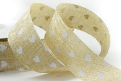Natural Heart Printed Coloured Light Ribbon x 1 metre