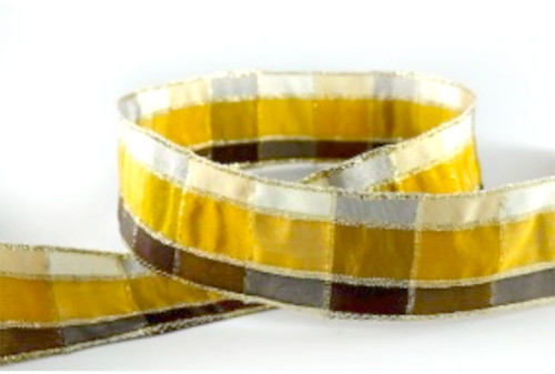 Gold/Bronze Regal Plaid (Wired) Ribbon 25mm x 1 metre