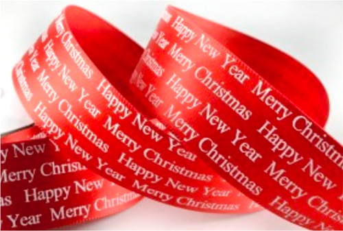Red Christmas Greetings Ribbon 25mm x 1 metre