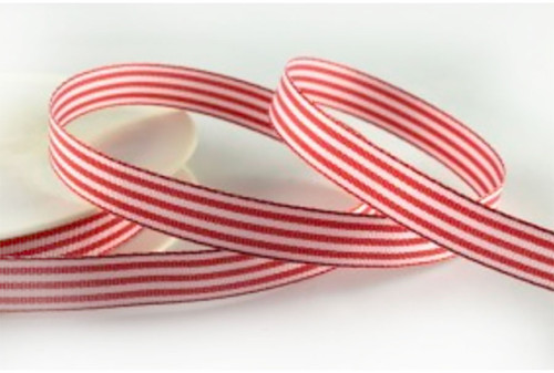 Red Woven Stripe Ribbon 10mm x 1 metre