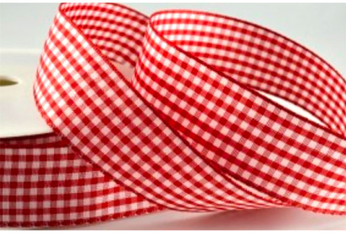 Red Gingham Ribbon 10mm x 1 metre