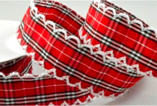 Red Plaid Scallop Edge Decorative Ribbon 25mm x 1 metre